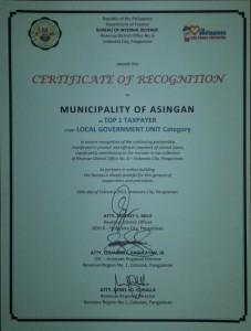 Municipality of Asingan  Top 1 Taxpayer