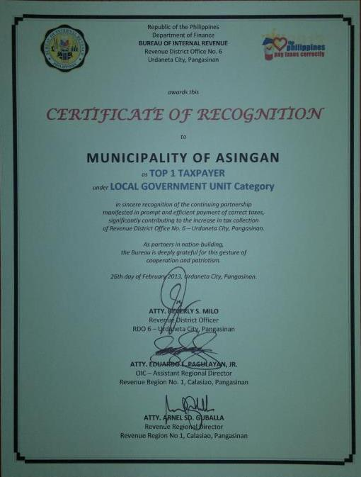 Municipality of Asingan  Top 1 Taxpayer