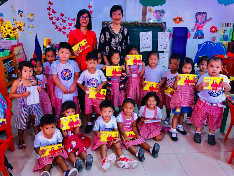 With the daycare pupils & mdm Mary at Carosucan Norte Child Development Center